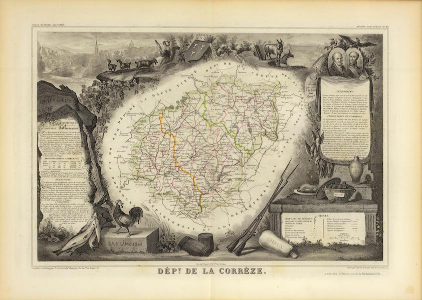 Atlas National Illustre - Dept. De La Correze (1856)