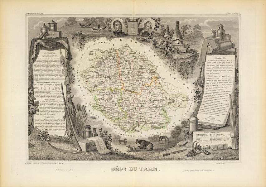 Atlas National Illustre - Dept. Du Tarn (1856)