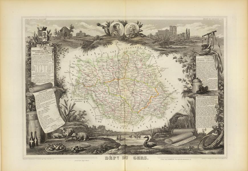 Atlas National Illustre - Dept. Du Gers (1856)