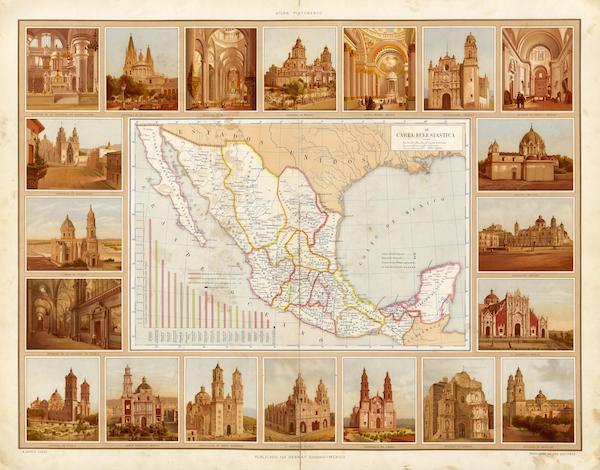 Atlas Pintoresco e Historico De Los Estados Unidos Mexicanos - Carta Eclesiastica (1885)