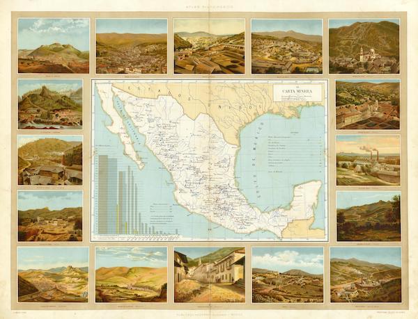 Atlas Pintoresco e Historico De Los Estados Unidos Mexicanos - Carta Minera (1885)
