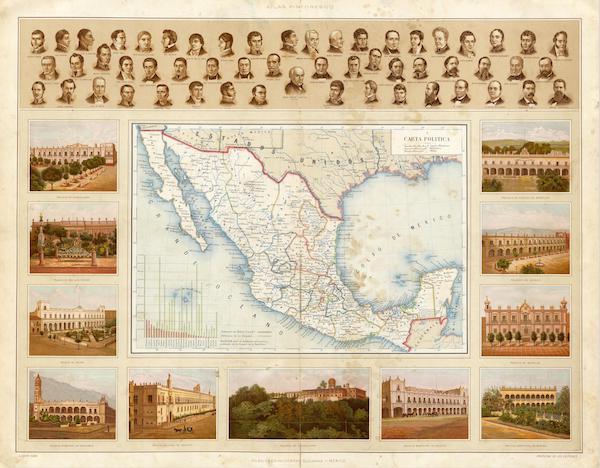 Atlas Pintoresco e Historico De Los Estados Unidos Mexicanos - Carta Politica (1885)