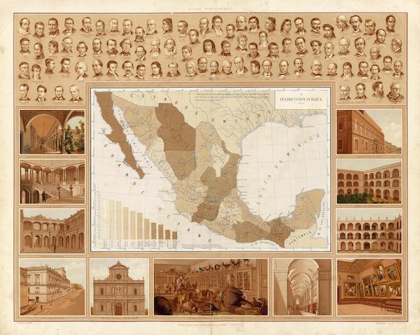 Atlas Pintoresco e Historico De Los Estados Unidos Mexicanos - Instruccion Publica (1885)