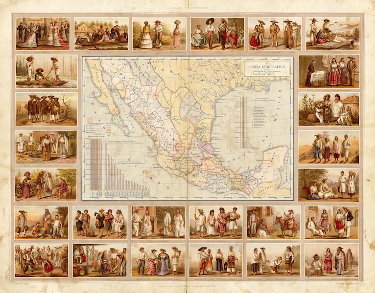 Atlas Pintoresco e Historico De Los Estados Unidos Mexicanos - Carta Etnografica (1885)