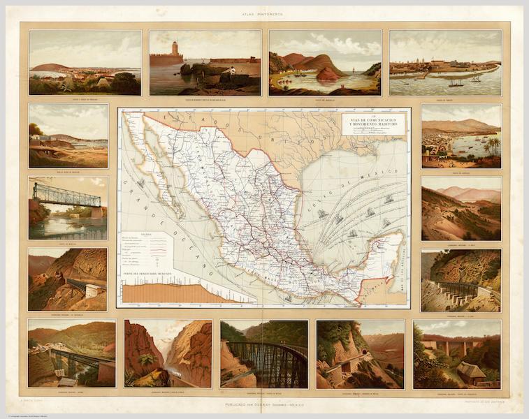 Atlas Pintoresco e Historico De Los Estados Unidos Mexicanos - Vias de Comunicacion y Movimiento Maritimo (1885)