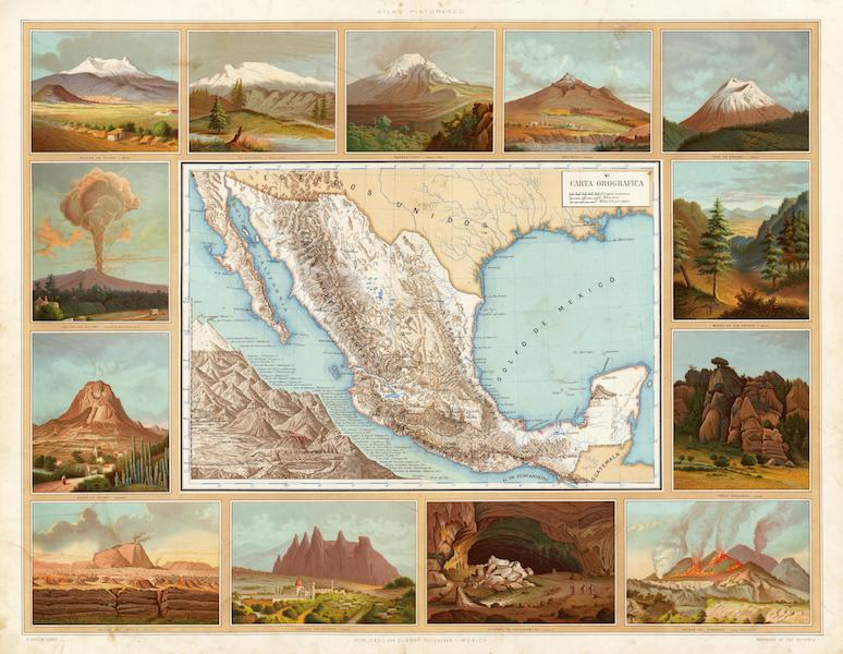 Atlas Pintoresco e Historico De Los Estados Unidos Mexicanos - Carta Orografica (1885)