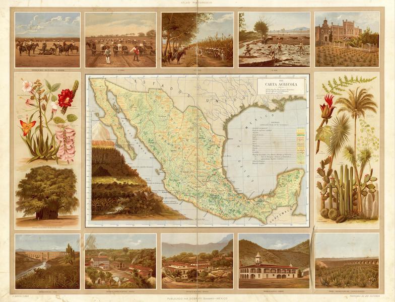 Atlas Pintoresco e Historico De Los Estados Unidos Mexicanos - Carta Agricola (1885)
