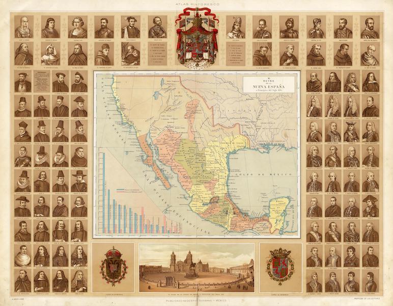 Atlas Pintoresco e Historico De Los Estados Unidos Mexicanos - Reyno de la Nueva Expana a Principios del Siglo XIX (1885)