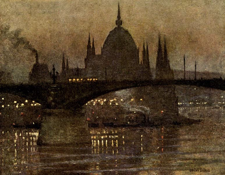 Austria-Hungary by G. E. Mitton - The Houses of Parliament and Margit Bridge, Budapest (1914)
