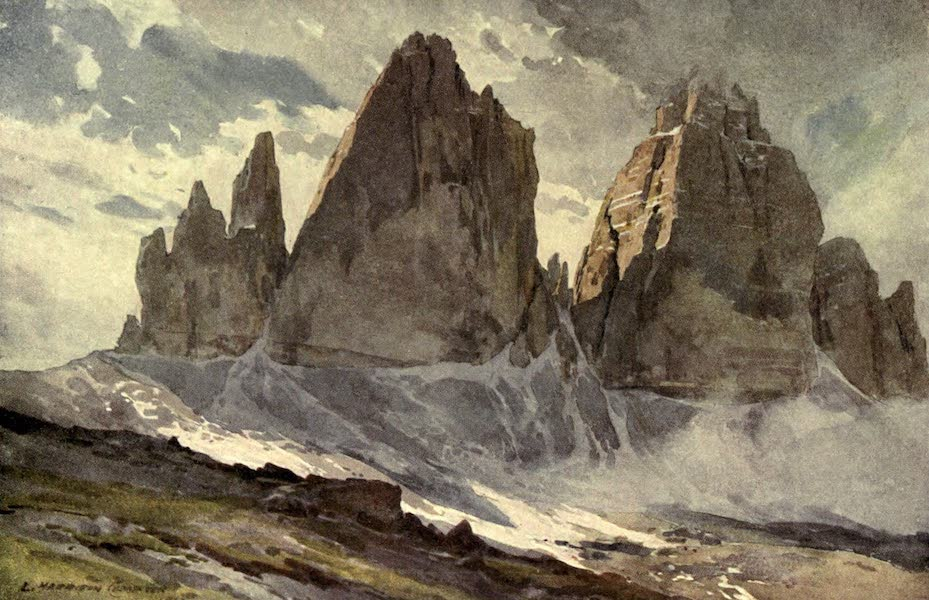 Austria-Hungary by G. E. Mitton - The Drei Zinnen, from the Highest Ridge (1914)