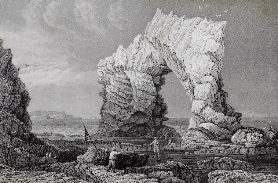 Barber's Picturesque Guide to the Isle of Wight - Arched Rock, Freshwater Bay (1850)