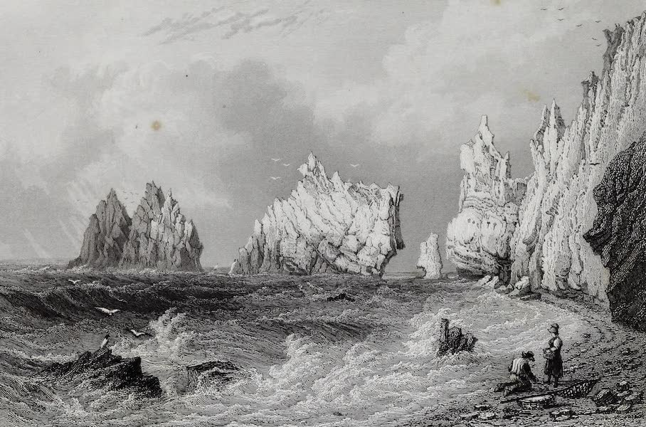 Barber's Picturesque Guide to the Isle of Wight - The Needles from Scratchell's Bay (1850)