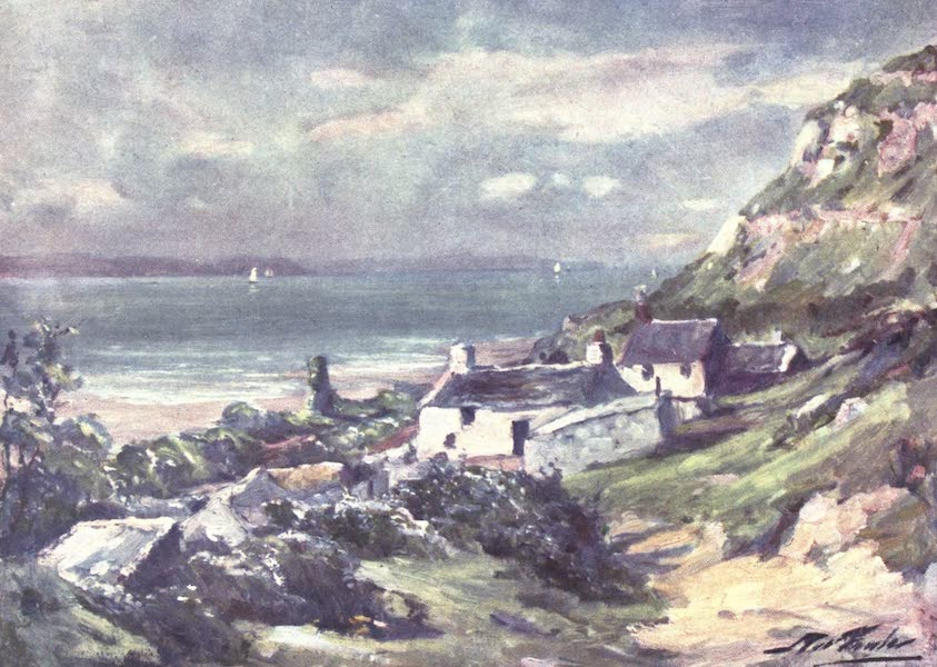 Beautiful Wales Painted and Described - Old Cottage and Ruins of Abbey, Great Orme's Head (1905)