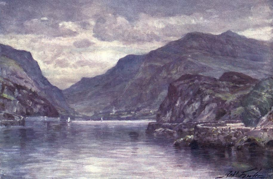 Beautiful Wales Painted and Described - Snowdon from Llanberis Lake (1905)