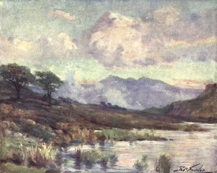 Beautiful Wales Painted and Described - Snowdon from Capel Curig Lake - Summer Evening (1905)