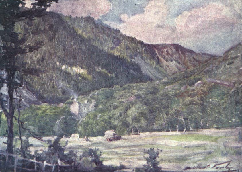 Beautiful Wales Painted and Described - A Hayfield near Portmadoc (1905)