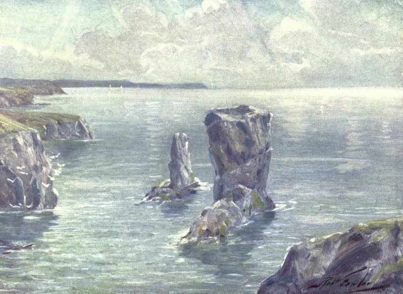 Beautiful Wales Painted and Described - The Stacks, near Tenby (1905)