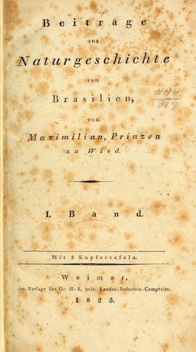 Natural History - Beitrage zur Naturgeschichte von Brasilien Vol. 1