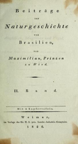 Natural History - Beitrage zur Naturgeschichte von Brasilien Vol. 2