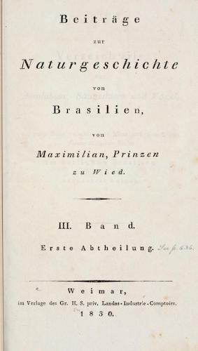 Natural History - Beitrage zur Naturgeschichte von Brasilien Vol. 3