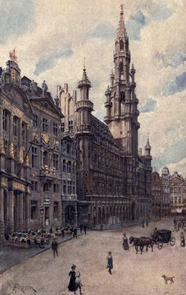 Belgium, Painted and Described - Hotel de Ville, Brussels (showing La Maison des Brasseurs, La Maison du Cygne, and La Maison de l'Etoile) (1908)