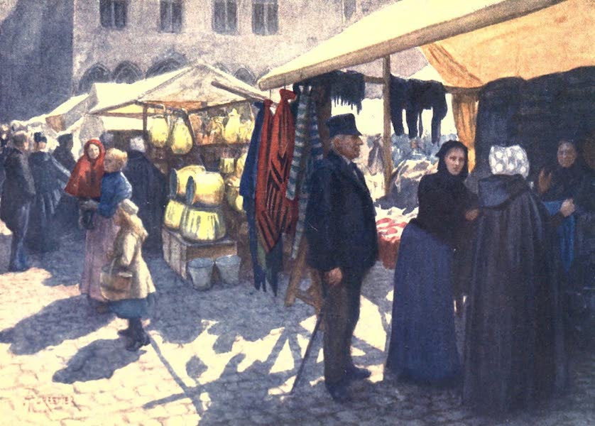 Belgium, Painted and Described - A Corner of the Market on the Grande Place, Bruges (1908)