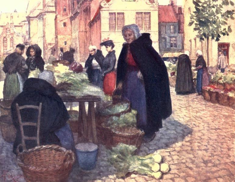 Belgium, Painted and Described - Vegetable Market, Bruges (1908)