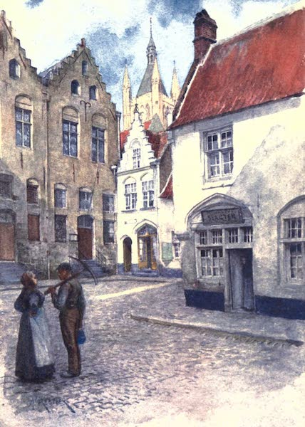 Belgium, Painted and Described - Place du Musee (showing the top part of the Belfry), Ypres (1908)