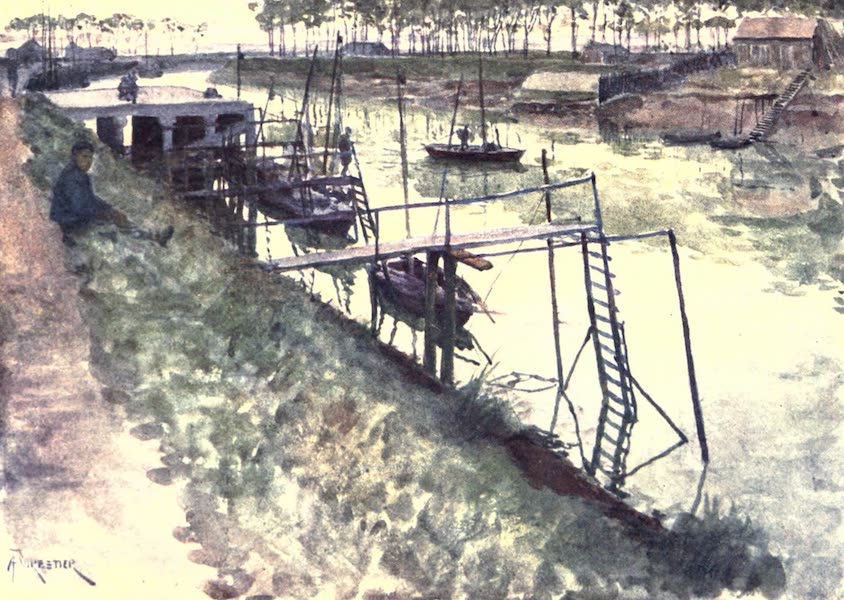 Belgium, Painted and Described - The Quay, with Eel-boats and Landing-stages, Nieuport (1908)