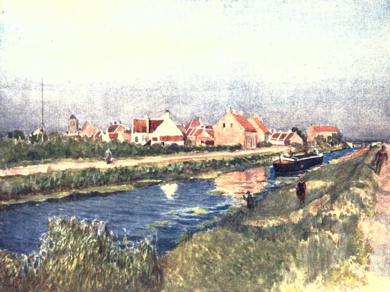 Belgium, Painted and Described - Village and Canal, Adinkerque (1908)