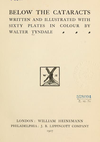 Below the Cataracts - Title Page (1907)