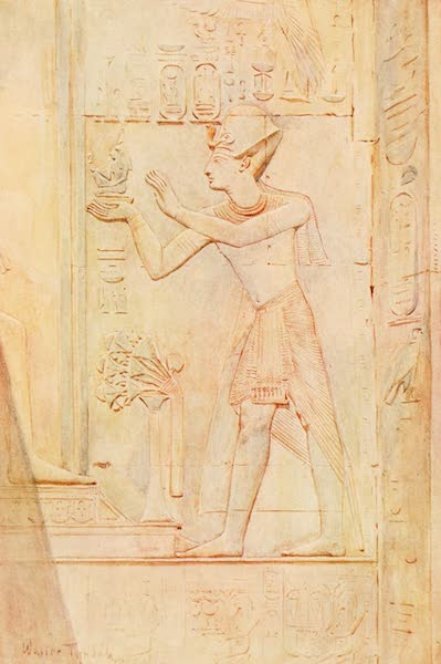 Below the Cataracts - Seti I. Offering an Image of Truth to Osiris. (From the wall inscriptions in the Temple at Abydos) (1907)