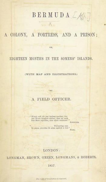 Bermuda, a Colony, a Fortress, and a Prison - Title Page (1857)