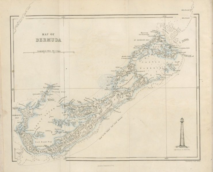 Bermuda, a Colony, a Fortress, and a Prison - Map of Bermuda (1857)