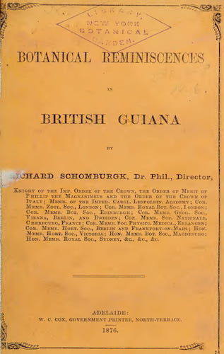 English - Botanical Reminiscences in British Guiana