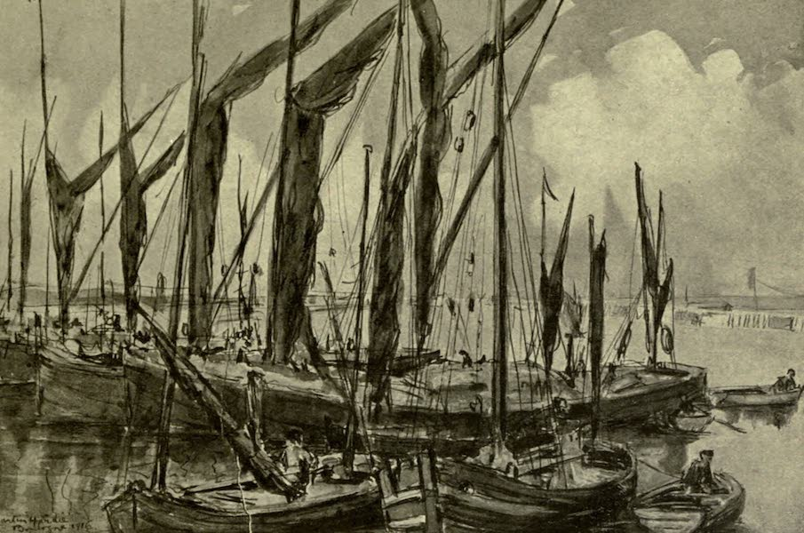 Boulogne, a Base in France - Thames Barges in the Harbour (1918)