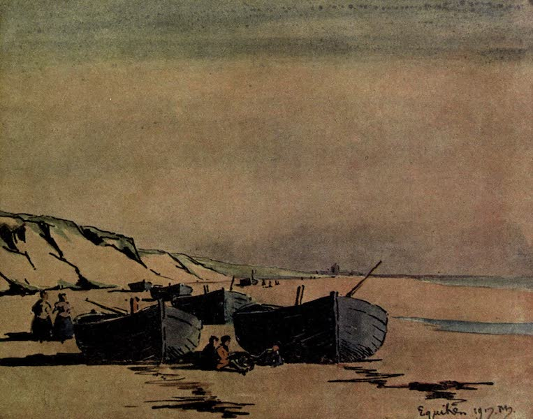 Boulogne, a Base in France - The Sands at Equihen, looking towards Hardelot (1918)