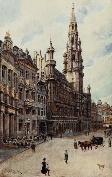Brabant and East Flanders, Painted and Described - The Hotel de Ville : A Corner of the Grande Place (showing La Maison des Brasseurs, La Maison du Cygne, and La Maison de l'Etoile), Brussels (1907)