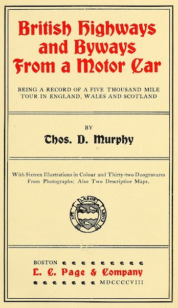 British Highways And Byways From A Motor Car - Title Page (1908)