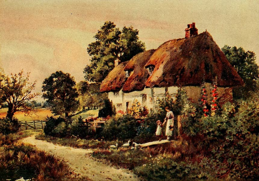 British Highways And Byways From A Motor Car - A Cottage in Holdenhurst, Hampshire (1908)
