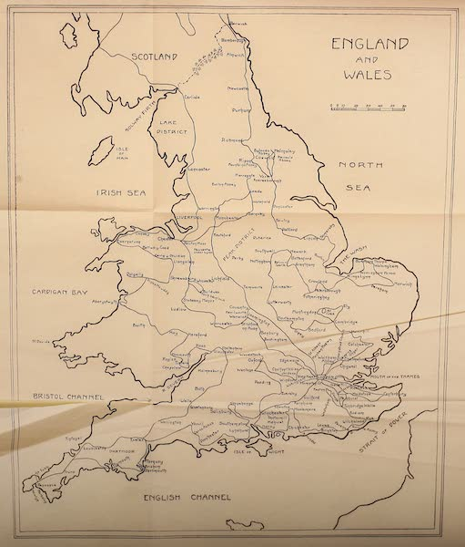 British Highways And Byways From A Motor Car - Map of England and Wales (1908)