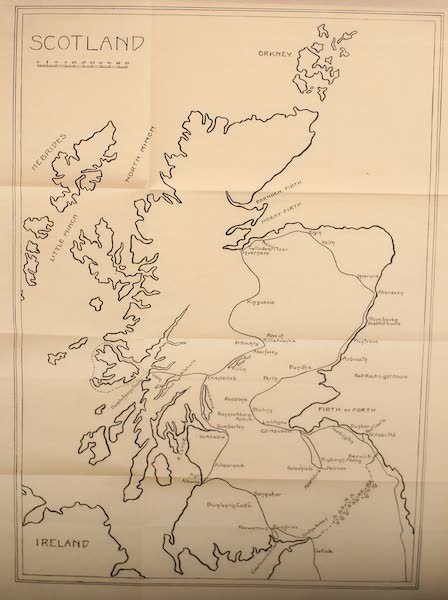 British Highways And Byways From A Motor Car - Map of Scotland (1908)