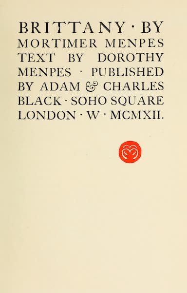 Brittany by Mortimer Menpes - Title Page (1912)