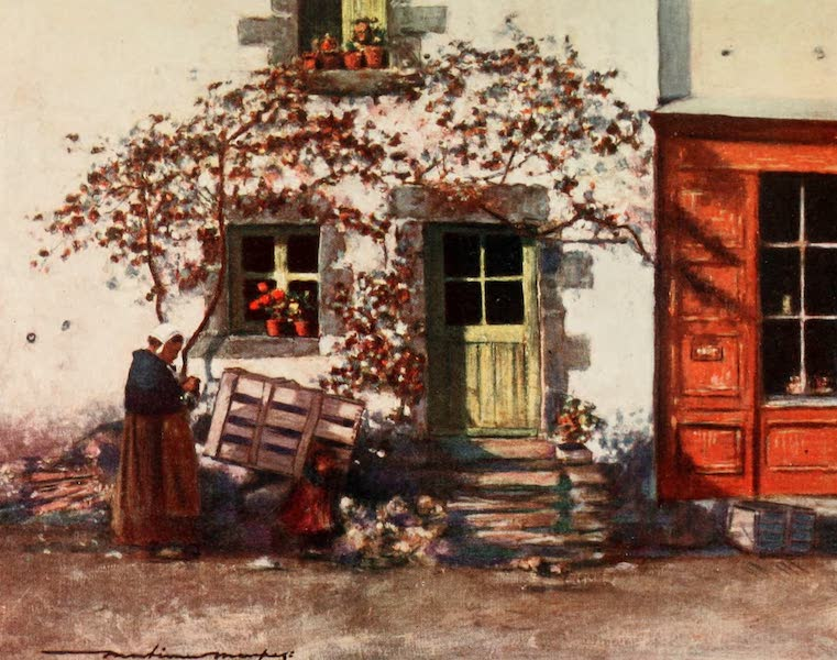 Brittany by Mortimer Menpes - A Cottage in Rochefort-en-Terre (1912)