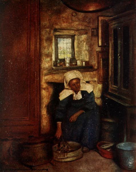 Brittany by Mortimer Menpes - Preparing the Mid-day Meal (1912)