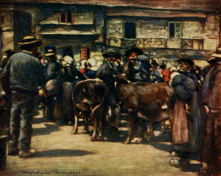 Brittany by Mortimer Menpes - A Cattle Market (1912)