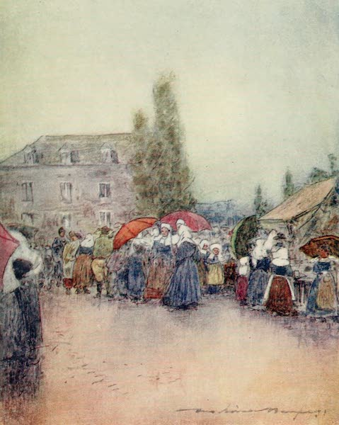 Brittany by Mortimer Menpes - A Rainy Day at the Fair (1912)