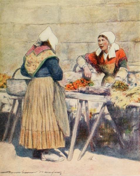 Brittany by Mortimer Menpes - The Vegetable Market, Quimper (1912)