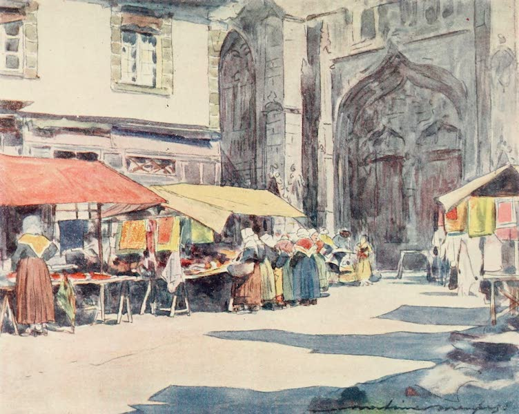 Brittany by Mortimer Menpes - Outside the Cathedral, Quimper (1912)