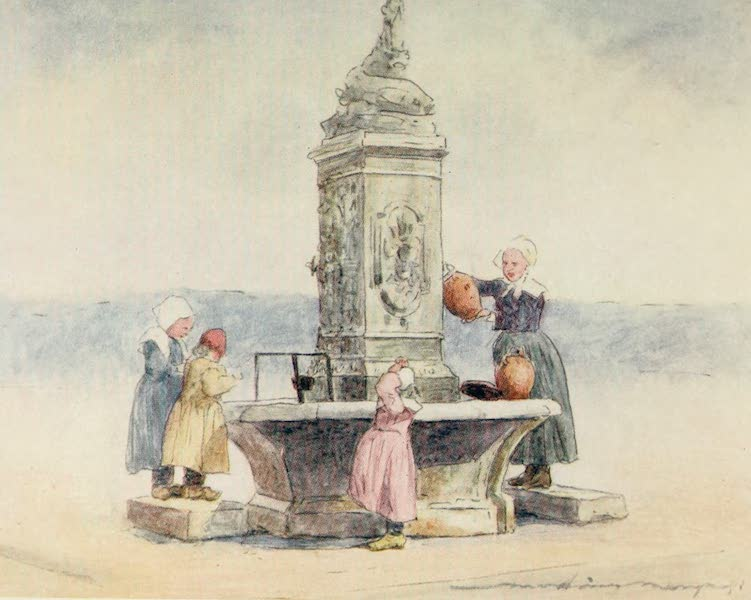Brittany by Mortimer Menpes - At the Fountain, Concarneau (1912)